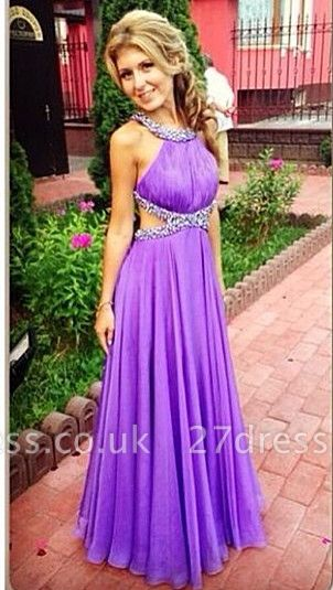 Purple A-Line Open Back Prom Gowns Criss-Cross Evening Dress UKes UK with Beadings