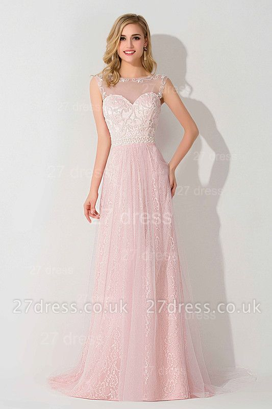 Gorgeous Illusion Pink A-line Evening Dress UK Sweep Train