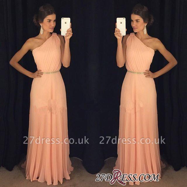 Chiffon Beautiful Floor-Length One-Shoulder Long Prom Dress UK BA5243