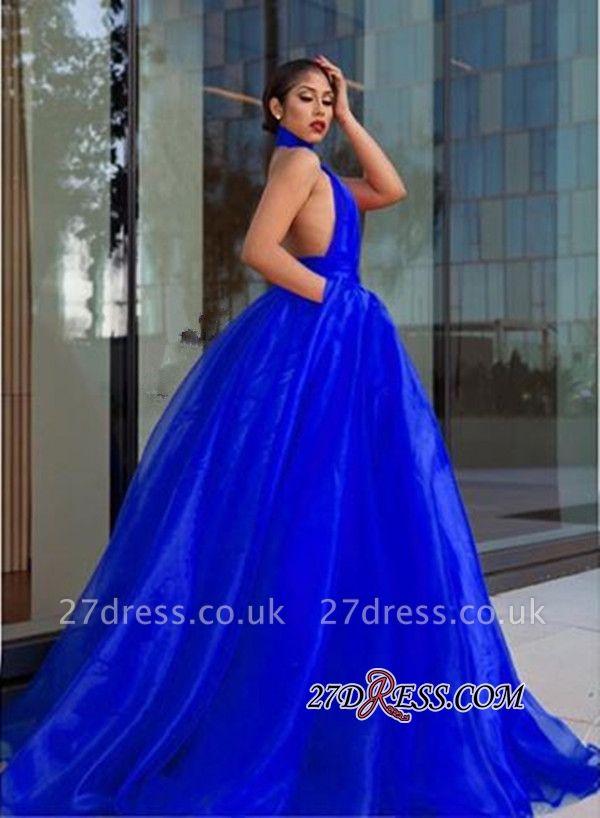 Royal-Blue Tulle Evening Dress UK | High-Neck Prom Dress UK