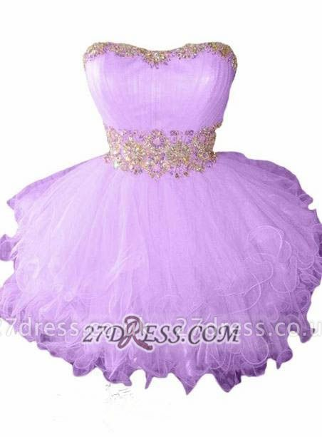 Lovely Semi-sweetheart Sleeveless Short Homecoming Dress UK With Beadings And Crystals