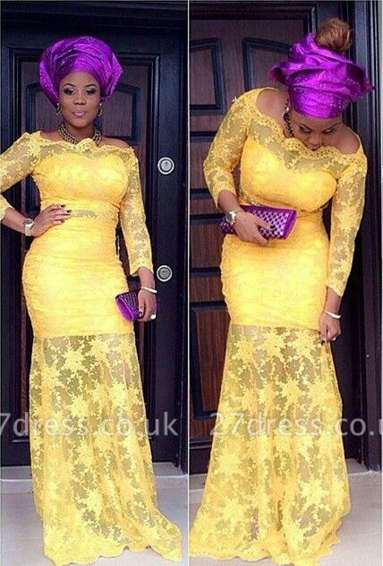Modern Off-the-shoulder Mermaid Yellow Prom Dress UK Lace Long Sleeve