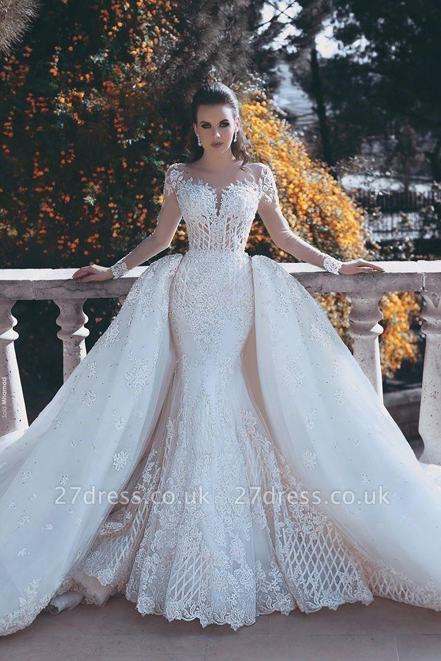 Elegant Long Sleeve Lace Wedding Dress Sexy Mermaid On Sale