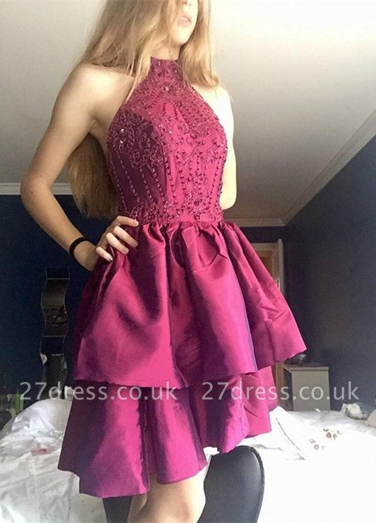Gorgeous High-Neck Short Prom Dress UK | Beadings Homecoming Dress UK On Sale