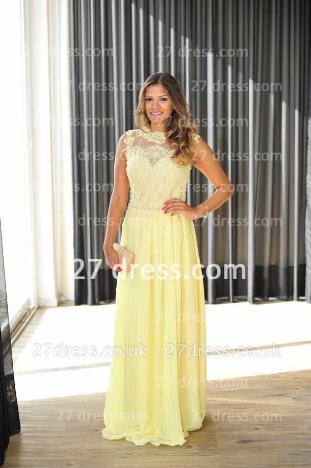 Long Vestido De Festa Longo Lace Evening Dress UKes UK Chiffon Yellow Cap Sleeve Pearls Prom Dress UK With High Collar