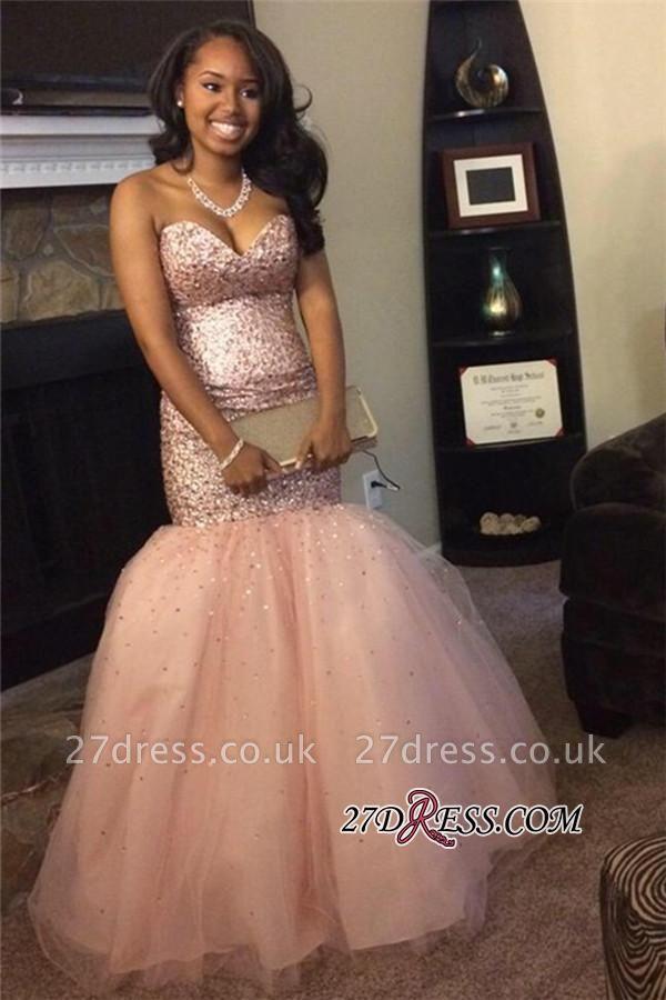 Luxury Sequins Pink Sweetheart Mermaid Tulle Sleeveless Prom Dress UKes UK BA5113 BK0