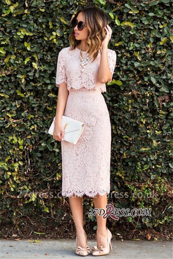 Cute Two-Piece Short-Sleeve Fashion Pink Lace Short Homecoming Dress UKes UK BA6003