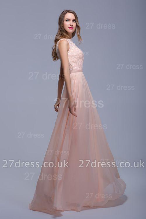 Sexy Illusion Chiffon Evening Dress UK Lace Appliques Floor-length