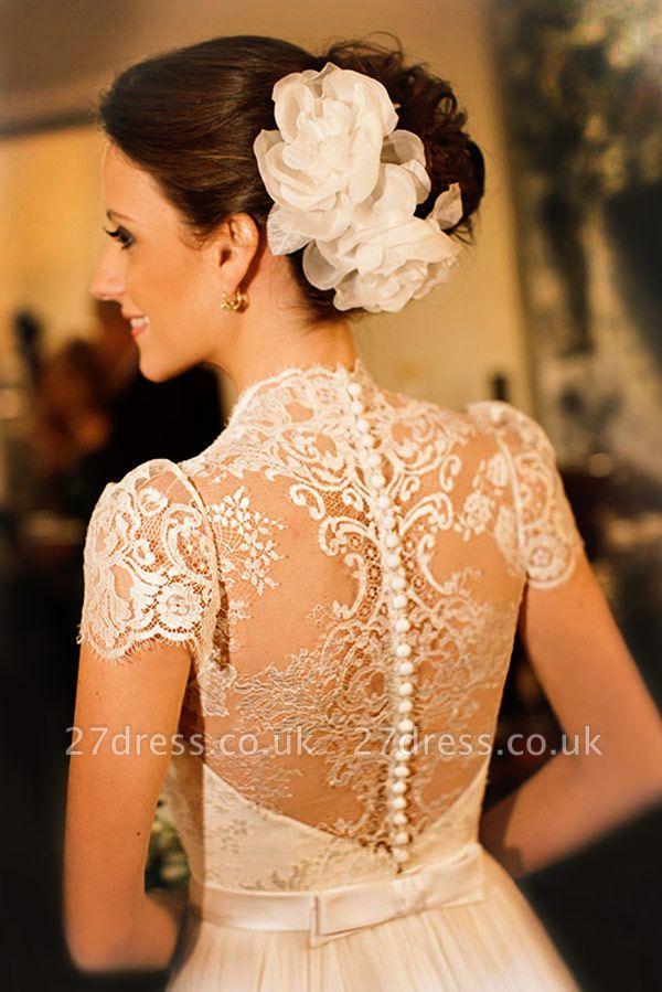 Elegant Scoop Neckline Cap Sleeve  Wedding Dress With Lace
