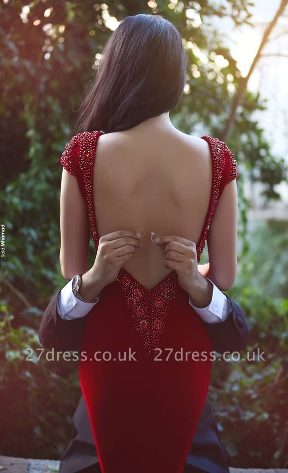 Gorgeous Cal Sleeves Beadings Red Evening Dress UK Mermaid Prom Gown On Sale