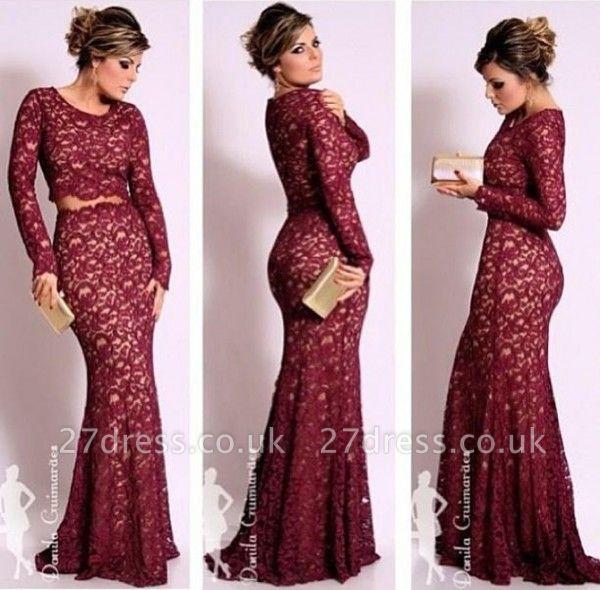 Beautiful Dark Red Lace Evening Dress UKes UK with Waistband Sheath