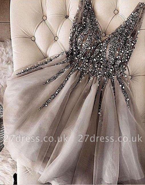A-Line Shiny Beading Homecoming Dress UKes UK   V-Neck Sleeveless Cocktail Dress UKes UK