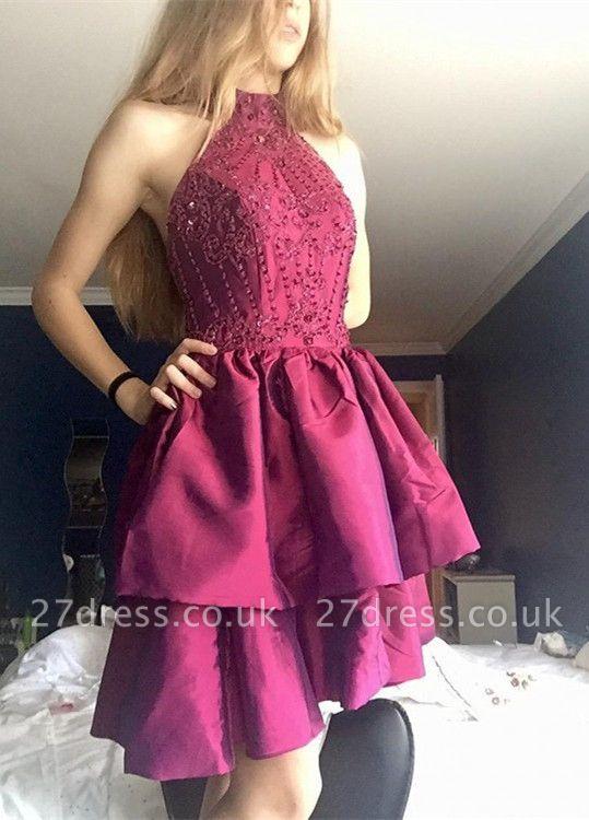 Gorgeous High-Neck Short Prom Dress UK | Beadings Homecoming Dress UK On Sale