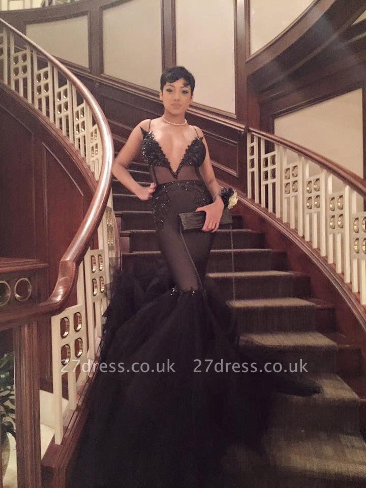 Elegant Black V-Neck Party Dress UK | Lace Mermaid Tulle Prom Dress UK BK0