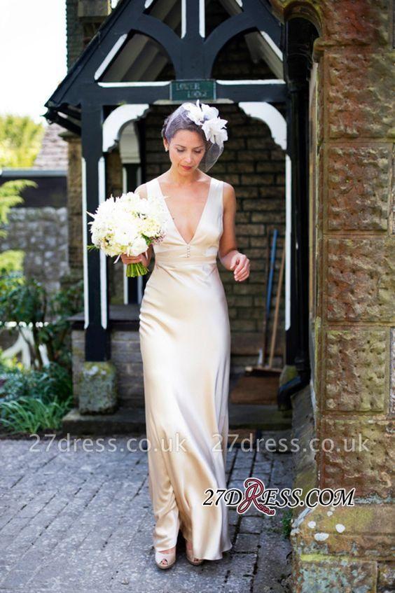 Sleeveless V-Neck Floor-Length Empire Summer Wedding Dresses UK