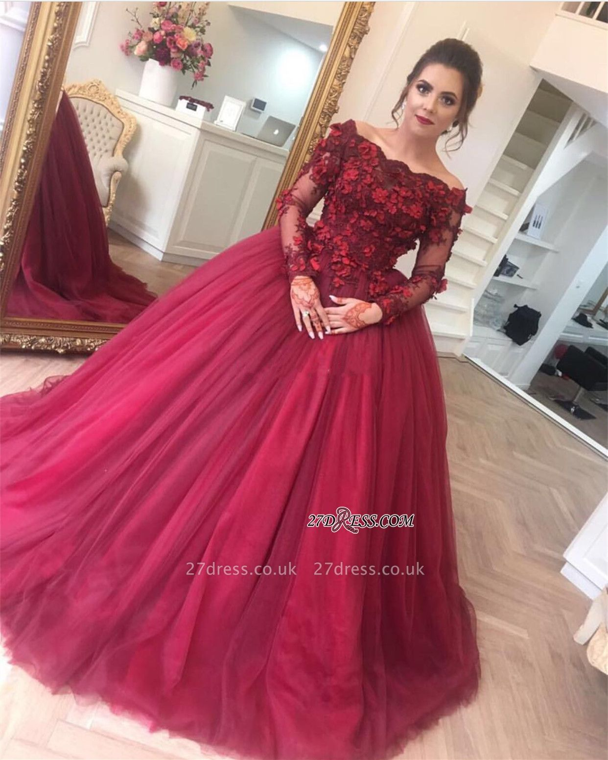 Luxury Ball Gown Applique Long Sleeve Burgundy Off-the-Shoulder Prom Dress UKes UK BA7967