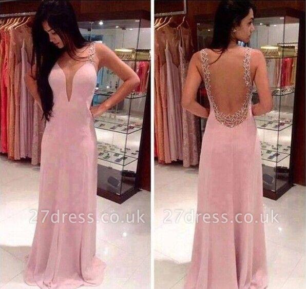 Prom Dress UKes UK Deep V Neck Straps Pink Sheer Back Beading Sweep Train Evening Giowns BA2137