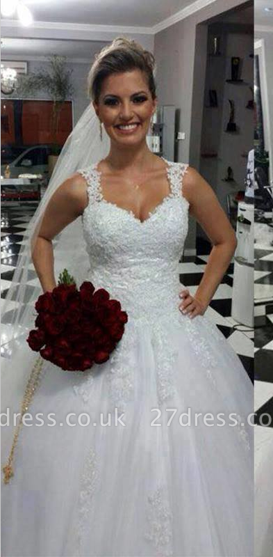 Stunning Straps Sweetheart Wedding Dresses UK Lace Appliques Bridal Ball Gowns