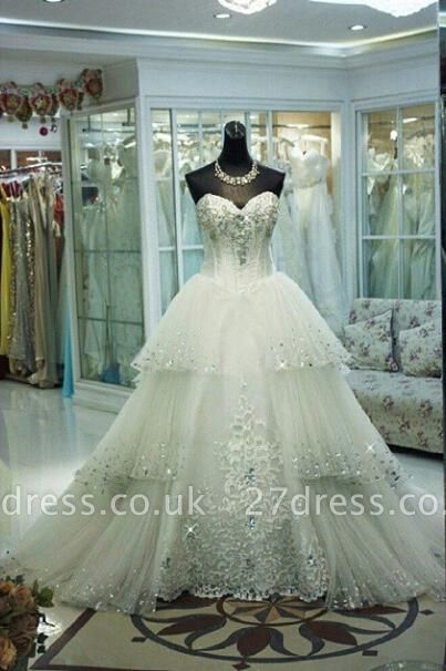 Elegant Three Layers Tulle Wedding Dress Sequins Beadss