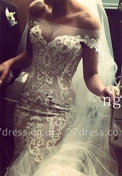 Delicate Lace Appliques Sexy Mermaid Wedding Dress Beadss Zipper Button Back