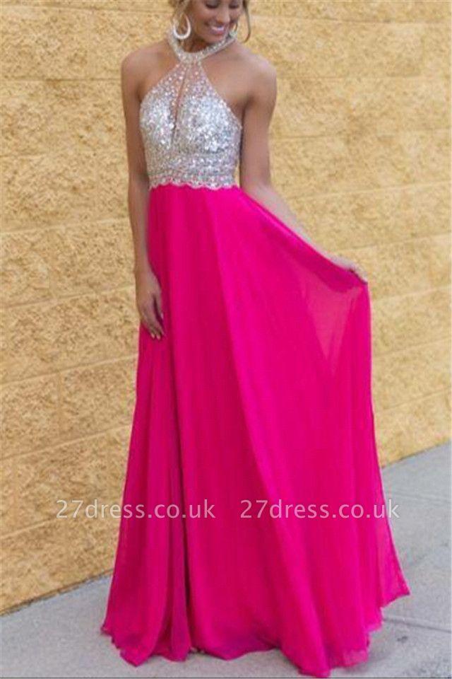 Modern Chiffon Halter Sequins Fuchsia Prom Dress UK Sleeveless Floor-length BA3430