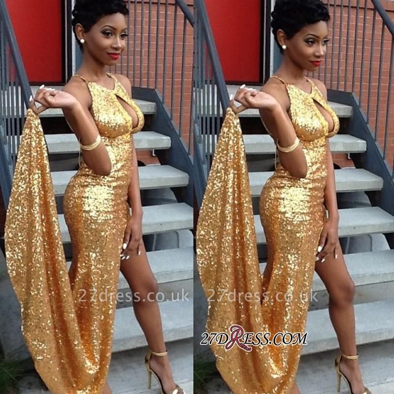 Elegant Newest Side-Slit Sequined Gold Halter Evening Gown qq0100 BK0