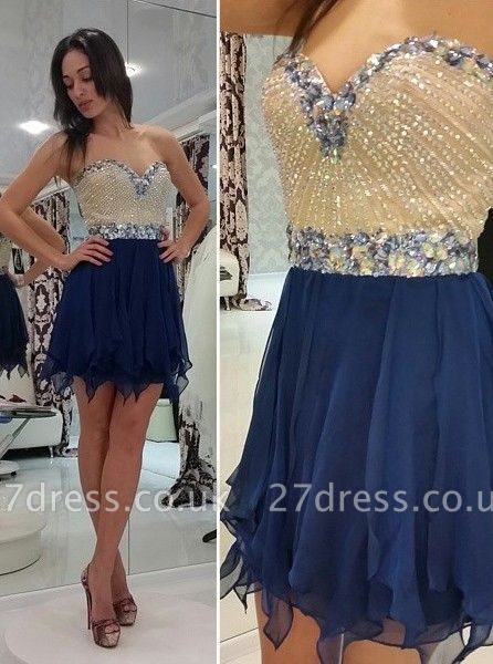 Timeless Sweetheart Chiffon Short Homecoming Dress UK Crystal Beads Party Gowns