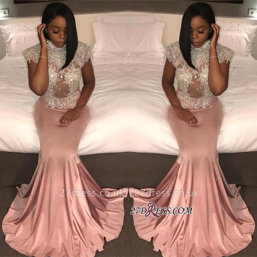 Pretty High-Neck Crystal Mermaid Cap-Sleeve Prom Dress UK BK0