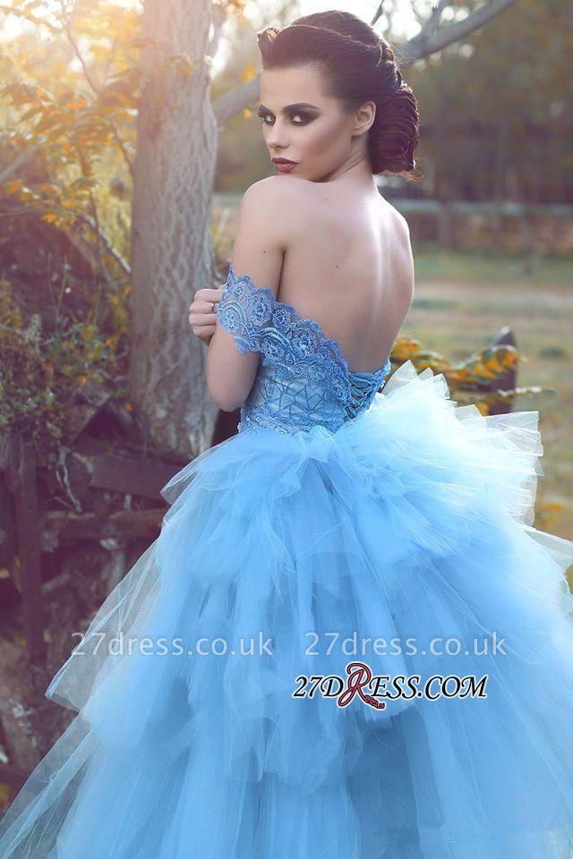 Blue Gorgeous Off-the-shoulder Lace Tulle Evening Dress UK