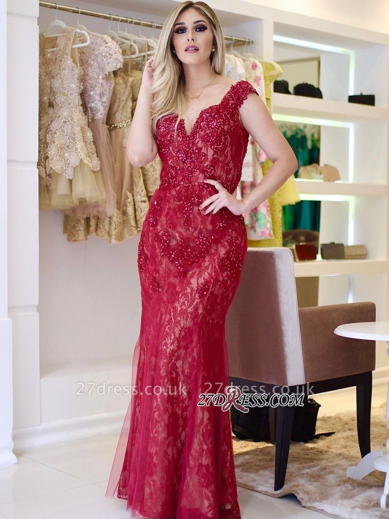Red lace prom Dress UK, mermaid evening gowns