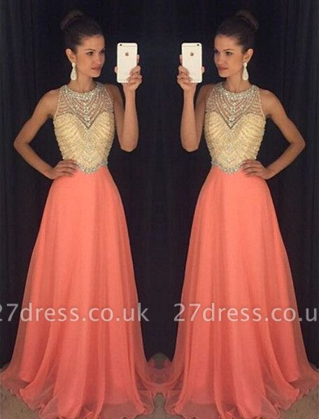 Classic Sleeveless Beadings Crystal Prom Dress UKes UK Long Chiffon AP0
