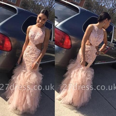 Mermaid Tulle Sleeveless Floor-Length Lace Sexy Prom Dress UK