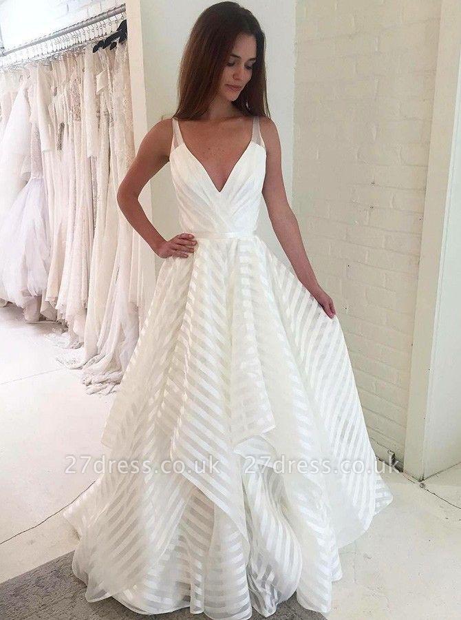 Elegant V-Neck Sleeveless Wedding Dress   A-Line Bridal Gowns
