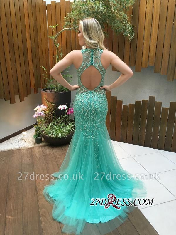 Beads Mermaid Tulle Zipper Luxury Sleeveless Prom Dress UK