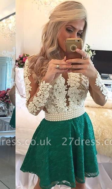 Modern Long Sleeve Pearls Homecoming Dress UK Lace Pearls On Sale BT0