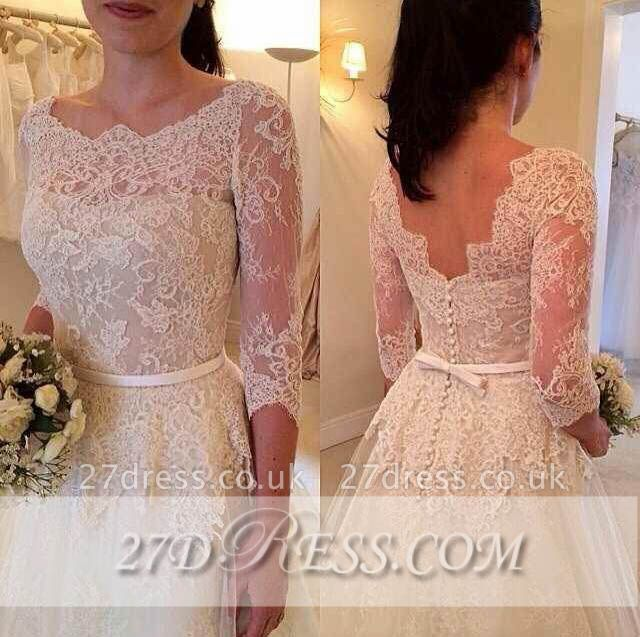 3/4 Sleeve Lace A-Line Wedding Dresses UK Tulle Bowknot Simple Bridal Gowns