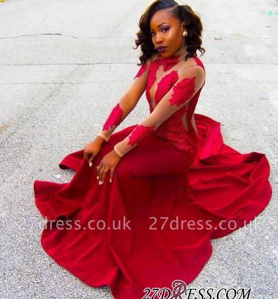 Sheath High-Neck Red Long-Sleeve Poprlar Lace Appliques Prom Dress UK BK0