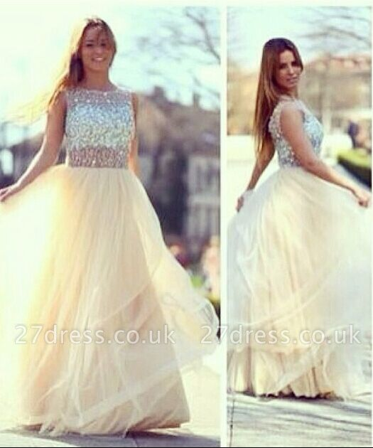 Newest A-line Tulle Prom Dress UKes UK Crystals Evening Party Gowns With Beadings