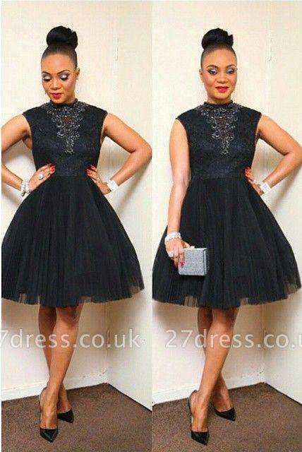 Elegant Black Short Tulle Prom Dress UK Appliques High Neck