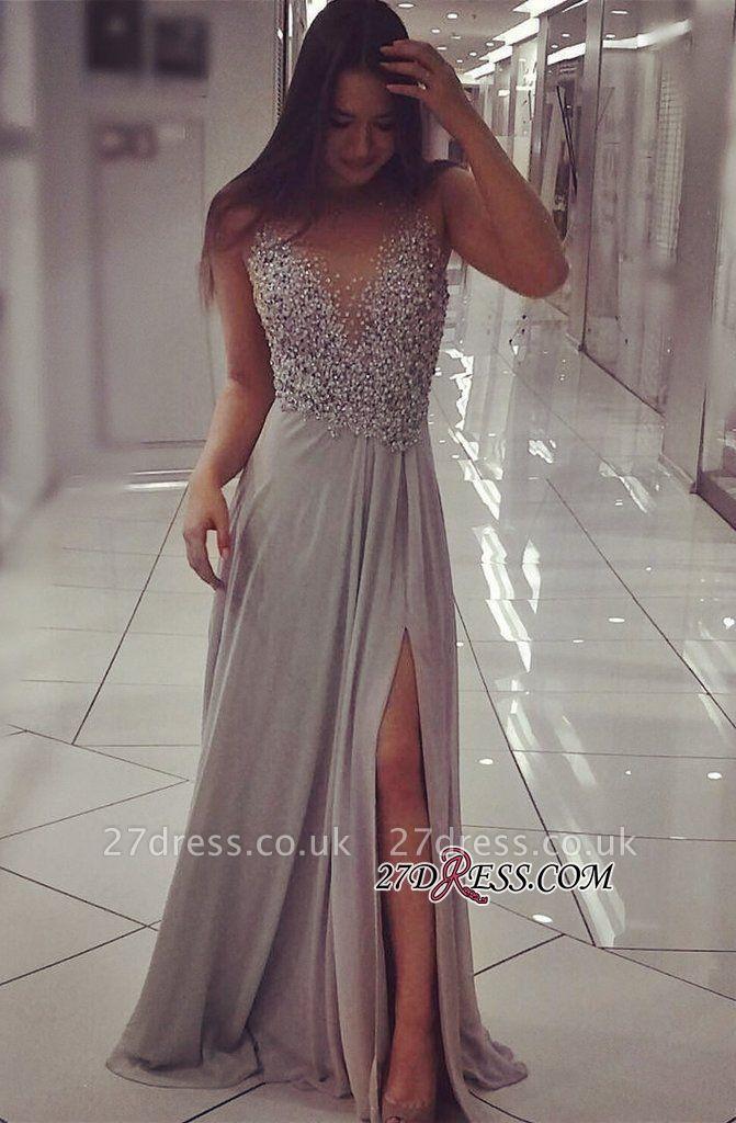 Beadings Luxury Split Sleeveless Prom Dress UK PT0364