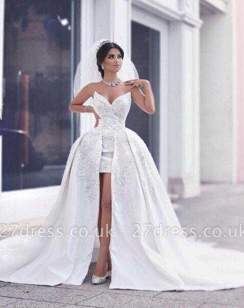 Delicate Sweetheart Beadss Wedding Dresses UK Hi-Lo Bridal Wear