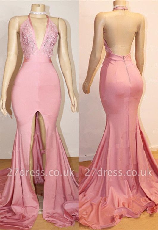 Sexy Pink Prom Dress UK | Backless Lace Evening Gown With Slit BA9087
