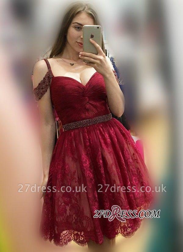 Lace Burgundy Off-the-Shoulder Elegant Bead A-line Homecoming Dress UKes UK