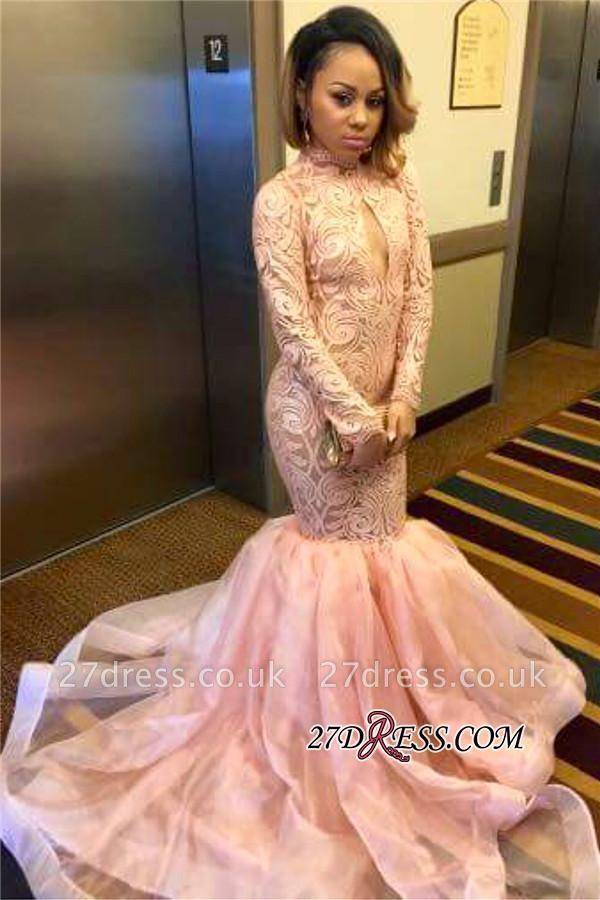 Elegant Pink Mermaid Keyhole Tulle Long-Sleeve High-Neck Prom Dress UK