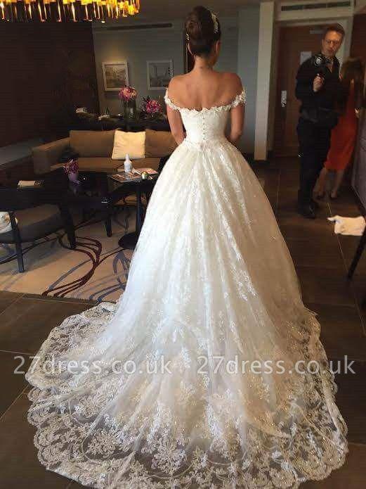 Elegant Princess Sequined Tulle Wedding Dress Lace Appliques Off-the-shoulder JT120