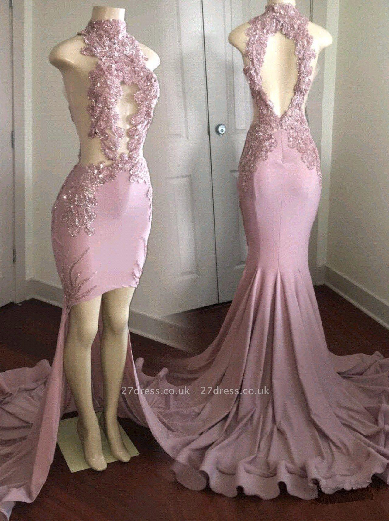 Modest High Neck Lace Appliques Prom Dress UK   Front Split Prom Dress UK