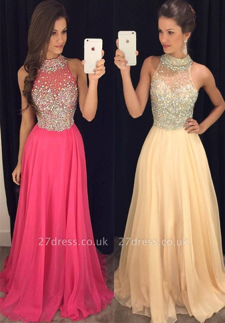 Luxury Crystals Chiffon A-line Prom Dress UK High Neck Zipper Sleeveless AP0