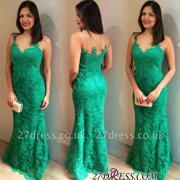 Lace Long Sexy Mermaid Sleeveless Floor-length Prom Dress UK