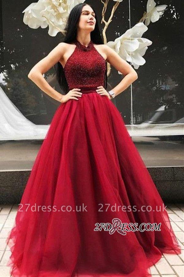 Luxury Halter Prom Dress UK | Floor-Length Beadings Sleeveless Evening Gown