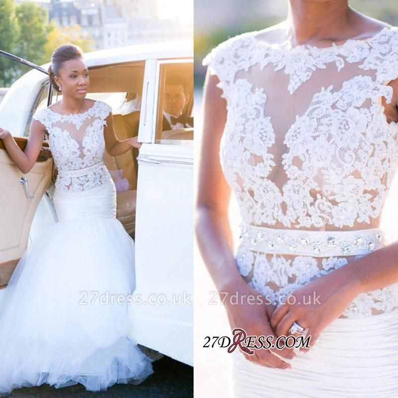 Appliques Tulle Sexy Mermaid Cap-Sleeves Open-Back White Wedding Dress